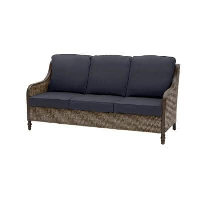 Windsor Brown Wicker Outdoor Patio Sofa with CushionGuard Midnight Navy Blue Cushions