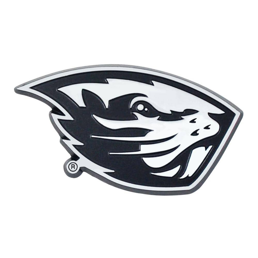 FANMATS NCAA Oregon State University 3 in. x 3.2 in. Chrome Emblem