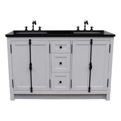 Plantation 55 in. W x 22 in. D Double Bath Vanity in White with Granite Vanity Top in Black with White Rectangle Basins