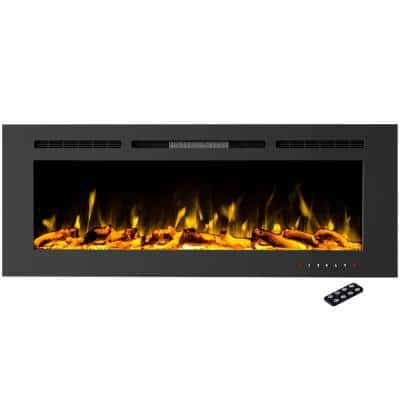5440 BTU 60 in. Electric Fireplace Wall-Mount or Recessed 10 Ember Colors, 3 Media-Touch Screen and Remote in Black