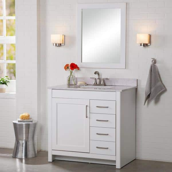 Home Decorators Collection Westcourt 37 In W X 22 In D X 38 50 In H Bath Vanity In White With Stone Effect Vanity Top In Pulsar With White Sink Wt36p2v5 Wh The Home Depot