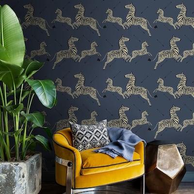 Denim Zebra Safari Self Adhesive Wallpaper Sample