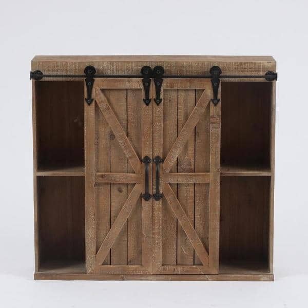 Luxenhome Wood Farmhouse Storage Wall, Wall Storage Units Home Depot