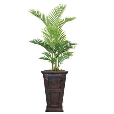 75 in. Real Touch Palm Tree in Fiberstone Planter