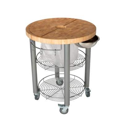 Stadium Natural Wood Kitchen Cart with Trash Ring