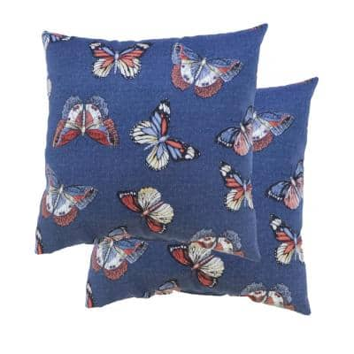 Butterfly Allover Midnight and Denim Square Outdoor Throw Pillow (2-Pack)
