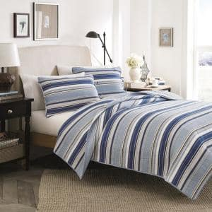 Fresno 3-Piece Blue Striped Cotton Full/Queen Quilt Set