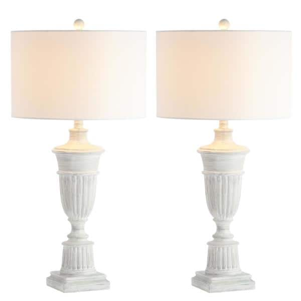Safavieh Kylen 31 In White Wash Urn Table Lamp With White Shade Set Of 2 Tbl4155a Set2 The Home Depot