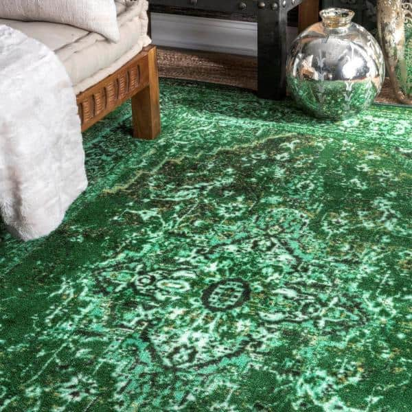 Nuloom Reiko Vintage Persian Green 8 Ft X 10 Ft Area Rug Mcgz01a 8010 The Home Depot