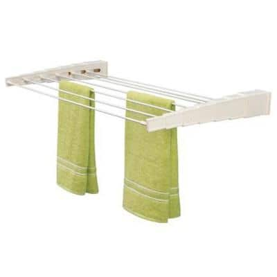 31.5 in. x 3.25 in White, Plastic, Wall Mounted Telescoping Garment Rack Drying Rack