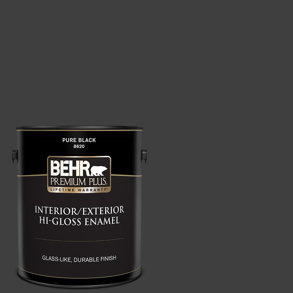 1 gal. Pure Black Hi-Gloss Enamel Exterior/Interior Paint