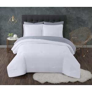 Antimicrobial 5-Piece White Seersucker Microfiber Twin XL Comforter Set