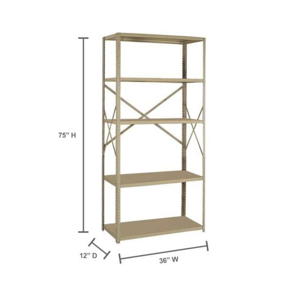 Edsal 75 In H X 36 In W X 12 In D 5 Shelf Steel Commercial Shelving Unit In Tan 2912 5tn The Home Depot