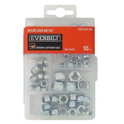 55-Piece Zinc-Plated Nylon Locknut Kit