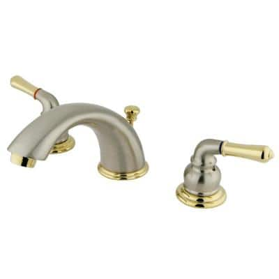 Magellan 8 in. Widespread 2-Handle Bathroom Faucet in Brushed Nickel/Polished Brass
