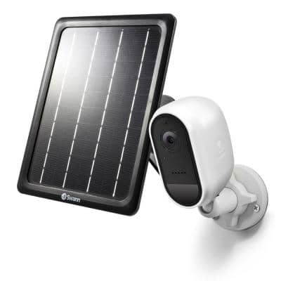 Battery Powered Wireless Indoor/Outdoor Smart Surveillance Bullet Camera with Solar Panel and Mounting Stand