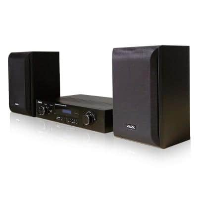 Bookshelf Hi-Fidelity Audio System with Bluetooth Amplifier Receiver and Speakers Including Remote