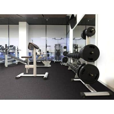 Black with Blue Flecks 18 in. x 18 in. x 0.3 in. Rubber Gym/Weight Room Flooring Tiles (14.32 sq. ft.)
