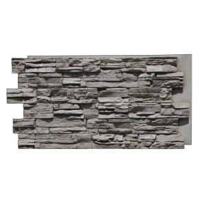 Lightning Ridge 48 in. x 24 in. Class A Fire Rated Faux Stone Siding Panel Finished Oyster Gray