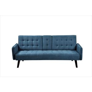 Payne 72 in. Blue Fabric 2-Seater Twin Sleeper Convertible Sofa Bed with Tapered Legs
