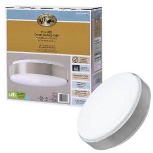 Modern Industrial 11 in. Round Wide Brushed Nickel Border LED Flush Mount Ceiling Light 980 Lumens 4000K Dimmable