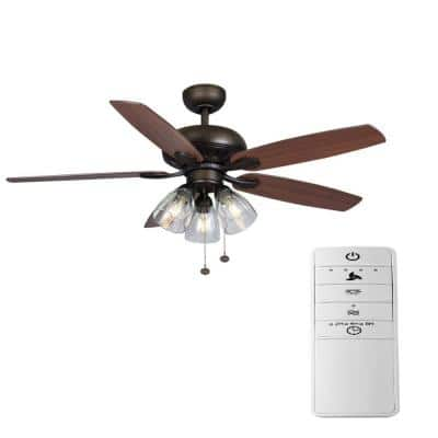 Rockport 52 in. Bronze LED Smart Ceiling Fan with Light Kit and Remote Works with Google Assistant and Alexa