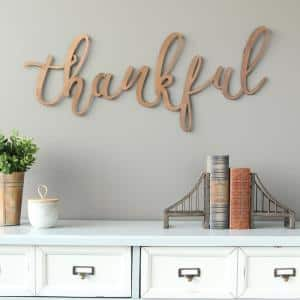 Bronze ''thankful'' Script Decorative Sign Wall Decor
