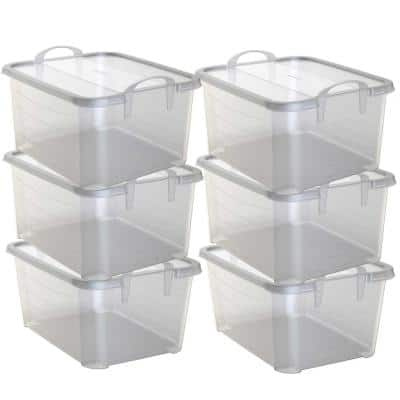 Clear Stackable Closet and Storage Box 55 Qt. Containers, (6-Pack)
