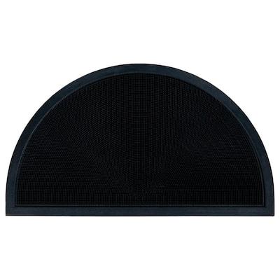 Dirt Off Black Pins Design 18 in. x 30 in. Semi-Circle Rubber Door Mat