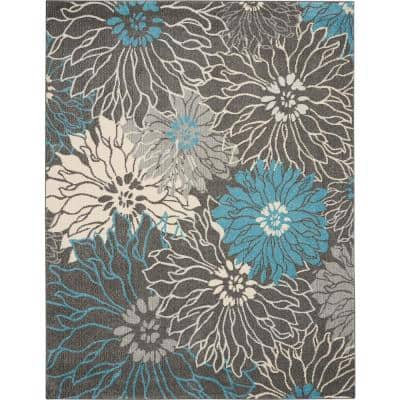 Passion Charcoal/Blue 7 ft. x 10 ft. Floral Modern Area Rug