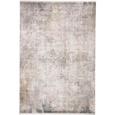 Lindstra Light Gray/Ivory 10 ft. x 13 ft. Gradient Polyester Area Rug