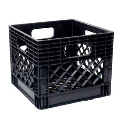 11 in. x 13 in. x 13 in. Black Milk Crate