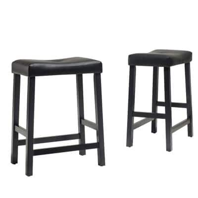 Upholstered 24 in. Black Saddle Seat Bar Stool With Black Cushion (Set Of Two)