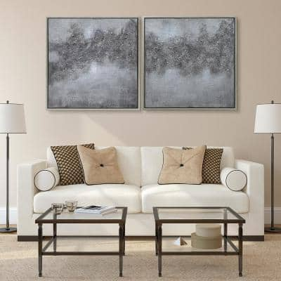 """""""Fog"""" Textured Metallic Hand Painted by Martin Edwards Abstract Diptych Set Framed Canvas Wall Art"""