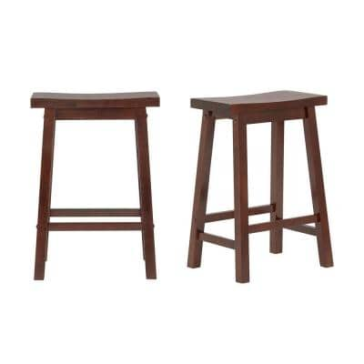 Walnut Finish Saddle Backless Counter Stool (Set of 2) (16.33 in. W x 24 in. H)