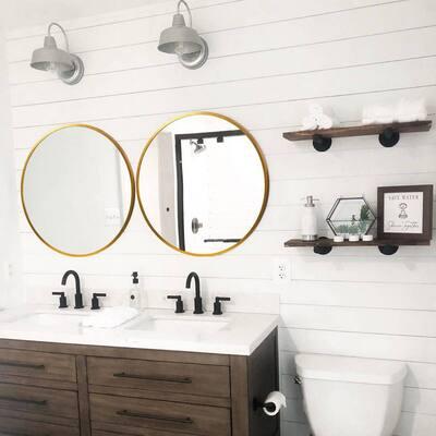 Medium Round Gold Shelves & Drawers Modern Mirror (24 in. H x 24 in. W)