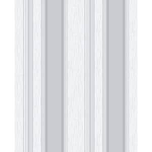 Mirabelle Silver Stripe Vinyl Peelable Wallpaper (Covers 56.4 sq. ft.)