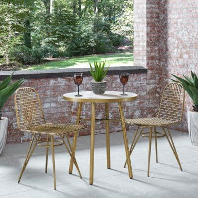 Panama White and Brass Outdoor Bistro Table with Marble Tile Top