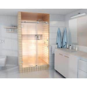 48 in. - 52 in. x 78 in. Frameless Sliding Shower Door in Chrome with Handle