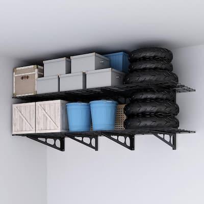 24 in. x 72 in. Steel Garage Wall Shelving in Black (2-Pack)