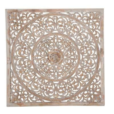 Brown Wood Traditional Floral Wall Decor 36 in. x 36 in.