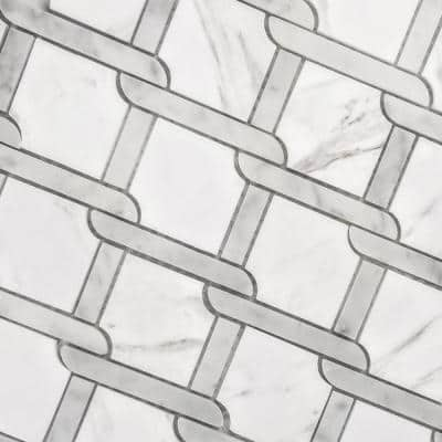 Marble Tuscany Calacatta White Diamond 12 in. x 12 in. Glossy Decorative Glass Mosaic Tile (10.5 Sq. Ft./case)
