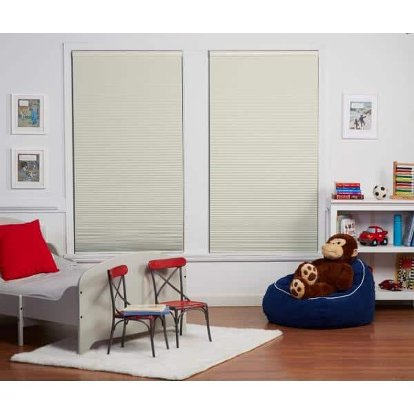 Perfect Lift Window Treatment Cut To Width Cream 1 5in Blackout Cordless Cellular Shade 59in W X 84in L Actual Size 59in W X 84in L Qecrwt590840 The Home Depot