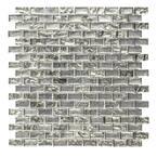 Treasure Bell Silver Metallic 11.875. x 11.375 in. Interlocking Brick Textured Glass Mosaic Tile (0.938 sq. ft./Each)