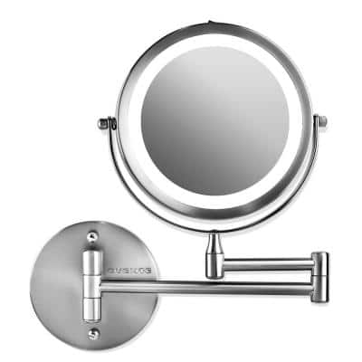 Small Round Polished Chrome Lighted Tilting Casual Mirror (11.6 in. H x 1.4 in. W)
