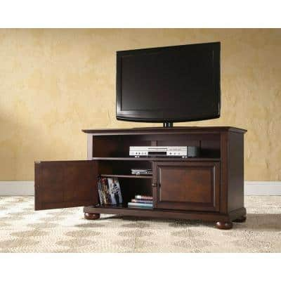 Alexandria 42 in. Mahogany Wood TV Stand Fits TVs Up to 44 in. with Storage Doors