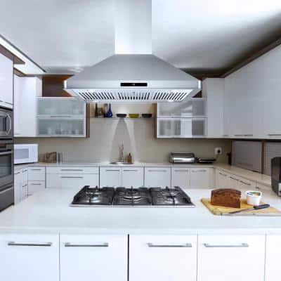 36 in. 380 CFM  Ducted Island Range Hood with LED Lighting in Stainless Steel