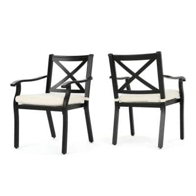 Black Standard Height Aluminum Metal Outdoor Dining Chairs with Ivory Cushions (2-Pack)
