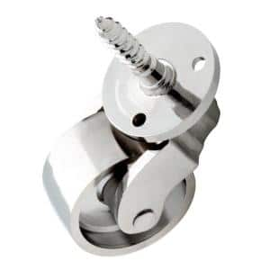 1 in. Polished Chrome Petite Stem Caster with 110 lb. Load Rating