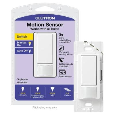 Vacancy-Only Motion Sensor Switch, 2A, Single-Pole, No Neutral Required, White